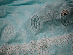 52'' Mint Blue Embroidered Fabric Summer Evening Dresses Crafting Indian Cotton Fabric by the Yard Sewing Skirt Costumes Table Runners Decor