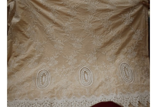 52'' Beige Embroidered Fabric for Kids Summer Evening Dresses Crafting Indian Cotton Fabric by the Yard Sewing Skirts Costumes Table Runners