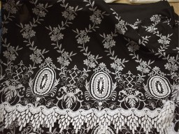 52'' Black Embroidered Lace Fabric Kids Summer Evening Dresses Crafting Indian Cotton Fabric by the Yard Sewing Skirts Costumes Table Runner