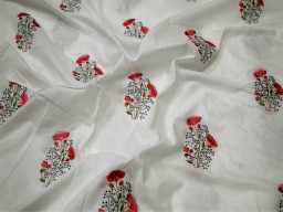 "42"" Embroidered Sewing White Cotton Fabric by the Yard Embroidery Quilting Crafting Nursery Kids Summer Dress Costumes Doll Pillow Cover"