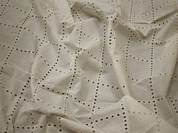 "47"" Ivory Sewing Indian Embroidered Eyelet Cotton Lace Fabric By Yard Wedding Cocktail Dresses Crafting Women Summer Skirts Drapery Curtain"