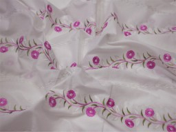 """42"""" Embroidered Sewing Pink Cotton Fabric by the Yard Embroidery Quilting Crafting Nursery Kids Summer Dress Costumes Dolls Pillow Covers"""