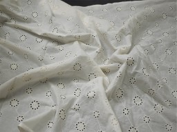 "46"" Unbleached Sewing Indian Embroidered Eyelet Cotton Fabric By the Yard Wedding Dresses Guipure Fabric Women Summer Skirt Drapery Curtain"