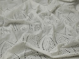 "41"" Embroidered Eyelet Cotton Lace Fabric By the Yard White Sewing Wedding Cocktail Dresses Guipure Fabric Women Summer Skirts Drapery"