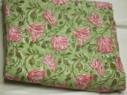 Green home decor block printed indian floral pattern soft cotton fabric by the yard costume sewing crafting apparel nursery drapery fabrics