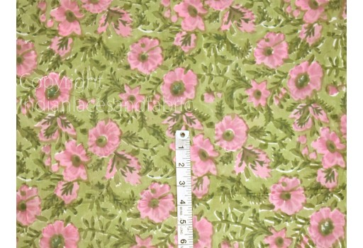 Pink Indian Hand Block Printed Soft Cotton Fabric by the yard Sewing Quilting Dress Tiers Runners Napkins Summer Women Kids Nighties making