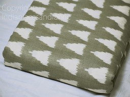 Green Indian Ikat Cotton fabric sold by yard Handwoven Yarn Dyed Kids Summer Dress Handloom Home Furnishing Cushion Curtains Pillows Apparel