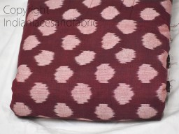 Burgundy Ikat Cotton Fabric Yardage Handloom Fabric sold by yard Summer Dresses Material Home Decor Yarn Dyed Remnant Quilting Table Runners