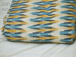 Blue Ikat Cotton Fabric by the yard Indian Handloom Upholstery Handwoven Quilting Sewing Crafting Summer Dress Cushion Pillow Apparel Fabric