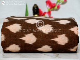 Brown Ikat Cotton Fabric by the yard Indian Handloom Upholstery Handwoven Quilting Sewing Crafting Summer Dress Cushion Pillow Apparel