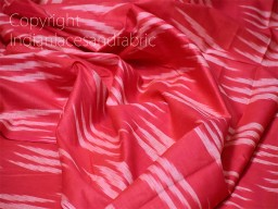 Coral Red Ikat Fabric Yardage Handloom Cotton sold by yard Summer Dresses Material Home Decor Yarn Dyed Remnant Quilting Table Runners