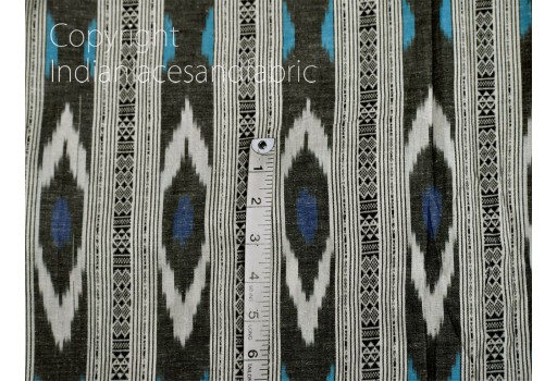 Blue Ikat Cotton Fabric by the yard Indian Handloom Upholstery Handwoven Quilting Sewing Craft Summer Dress Cushion Pillow Covers Apparels