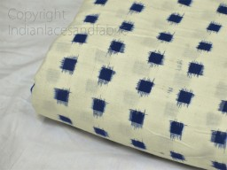 Blue Ikat Fabric Yardage Handloom Upholstery Fabric Cotton sold by yard Double Ikat Home Decor Bedcovers Table..