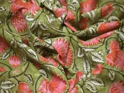 Green Indian Quilting Block Stamp Print Soft Cotton Fabric Yardage Summer Dress Shorts Kids Sleepwear Pajamas Sewing Craft Kitchen Curtain