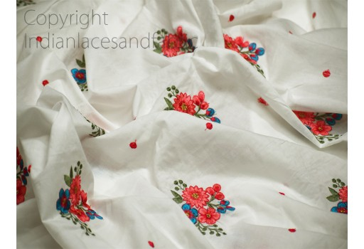 Indian Embroidered Cotton Fabric by the Yard Quilting Crafting Embroidery Sewing Nursery Drapery Kids Women Summer Dress Home Decor Apparels Curtain Cushion Cover