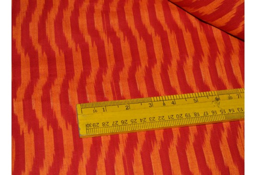 Handloom Ikat Cotton Fabric Ikat Fabric for Home Decor Homespun Ikat Ikat for cushion covers Handwoven Ikat in Red and Orange