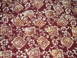 Batik Print Fabric Dark Maroon Yellowish Brown batik fabric