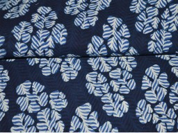 Indigo Blue hand block print cotton fabric in Scallop Pattern