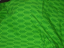 Screen Printed Pure Cotton Fabric in Parrot Green fabric to make dresses