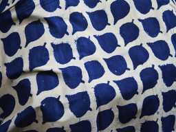 Indigo Blue Cotton Fabric with Leaf Print Hand Stamped
