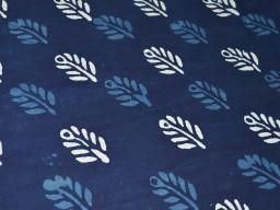 Indigo blue cotton, hand block print fabric