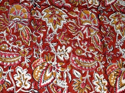 Hand Printed Fabric  Block Print Cotton Fabric rust mustard color on white