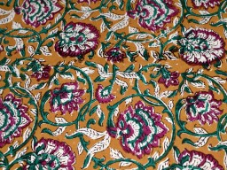Block Print Cotton Fabric in Purple Brown Green on white