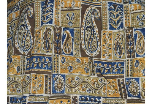 Kalamkari fabric  in Mustard Yellow Brown Olive Green
