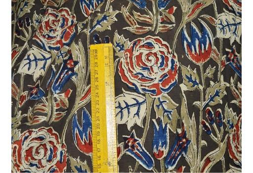 Hand printed Organic Dyed Kalamkari Cotton Fabric in Olive Green  Rust  Beige
