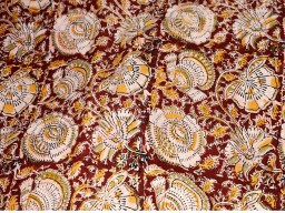 Kalamkari print fabric  Cotton Fabric by the yard Pinkish Beige  Green  Mustard Yellow