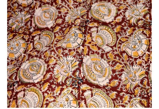Vegetable Dye Indian Hand Block Printed Soft Cotton Fabric sold by yard Kalamkari Summer Dresses Kid Sewing Crafting Drapes Apparel Nursery