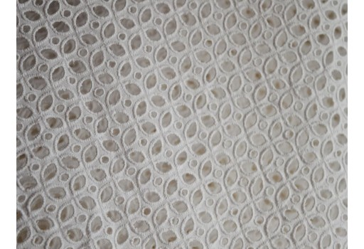 White Eyelet Fabric Embroidered Eyelet Cotton Fabric