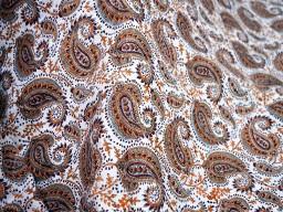 Hand Stamped Block Printed fabric Paisley  Brown Grey Dull Orange