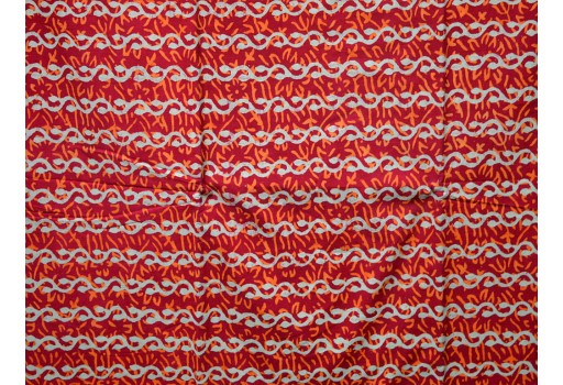 Block Print Cotton Fabric Red on white background.