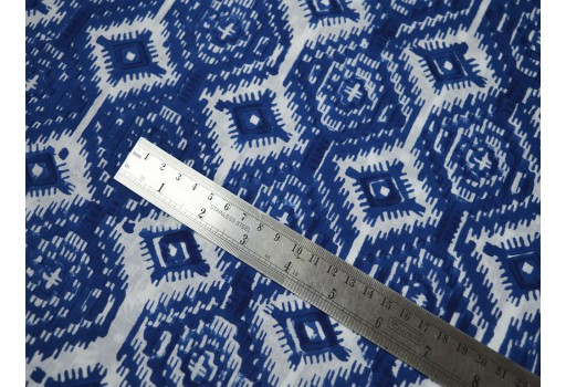 Block Printed Cotton Fabric Hand Printed Indian Fabric Soft Cotton by the yard Fabric in Blue on white background fabric for summer dress