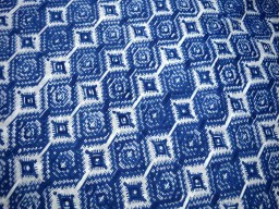 Block Printed Cotton Fabric  Blue on white background