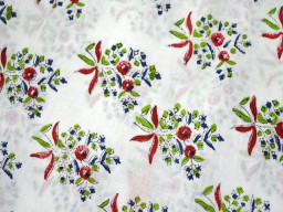 Block Printed Soft Cotton fabric red  green on white background