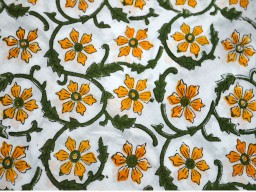 Block Print Cotton Fabric Yellow Green on White