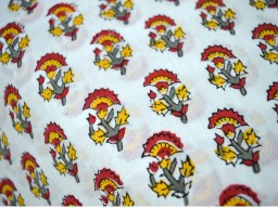 Block Print Cotton Fabric Yellow  Red  Grey