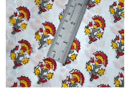 Quilting Indian floral Hand Block Printed red and white Soft Cotton Fabric by yard Costume Summer kids Dress Sewing Crafting fabric for gown