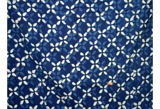 1.5 Mete Indigo Blue Indian Hand Block Printed Quilting Cotton Fabric Sewing Crafting Drapes Curtains Summer Women Girls Dresses Apparel