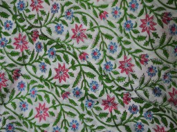 Cotton Fabric Block Printed Green Blue Pink on White