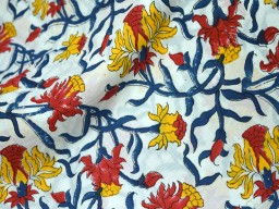 Block Printed Blue, Yellow, Red on White floral fabric