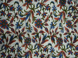 Pure Soft Cotton Fabric in blue, carrot red green on white background