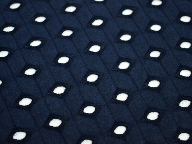 Eyelet Fabric in Navy Blue Embroidered Eyelet