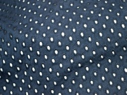 Midnight Blue Eyelet Fabric Embroidered Cotton