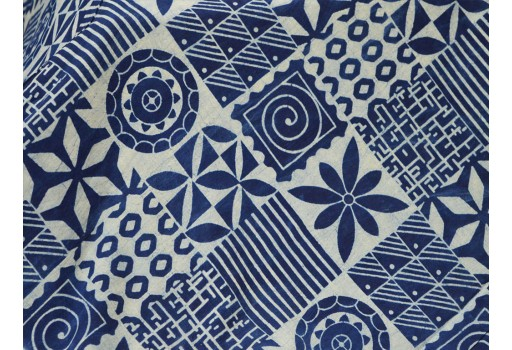 Geometric Indigo Blue Indian Hand Block Printed Quilting floral Cotton Fabric by Yard Sewing Crafting Drapes Curtains Summer Women Apparel
