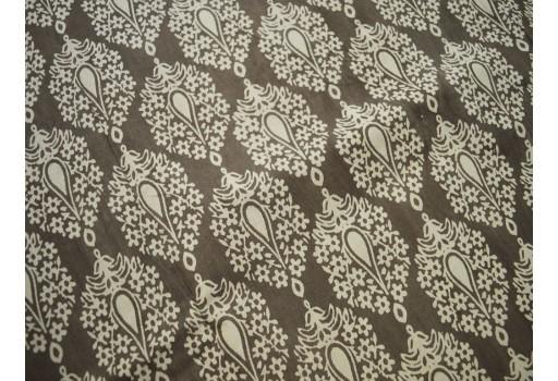Dabu Block Print in paisley design in Brownish  grey on Beige base