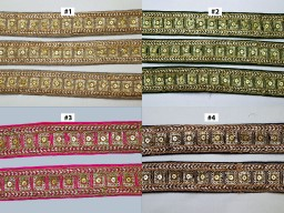 2 Yard embroidered lehenga trim decorative Indian beautiful dresses trimmings golden sequins crazy quilt lace sewing costume embroidery sari border crafting accessories festive wear gown tape