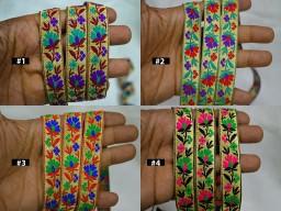 4 yard Embellishments dresses trimming Home Decorative Jacquard Trim Drapery Hats Bag Indian Sari Border Brocade Crafting lace Floral Pattern Wedding Indian Sari Ribbon
